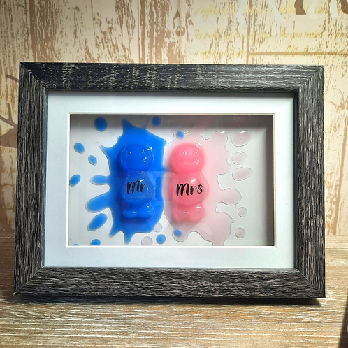 Mr And Mrs Jelly Baby Picture (15.5x20cm)