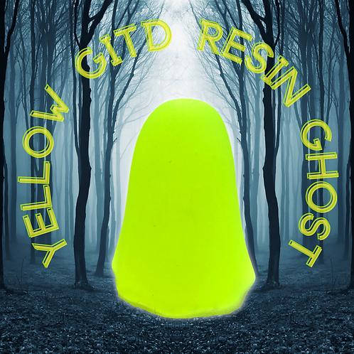 Yellow GITD Resin Ghost Ornament