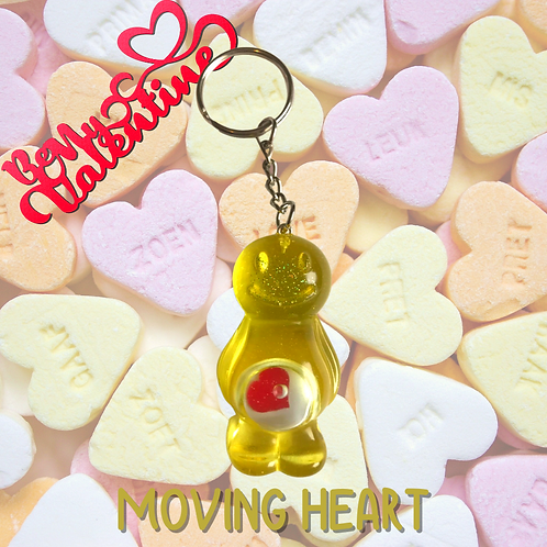 Moving Heart Yellow Jelly Baby Keyring
