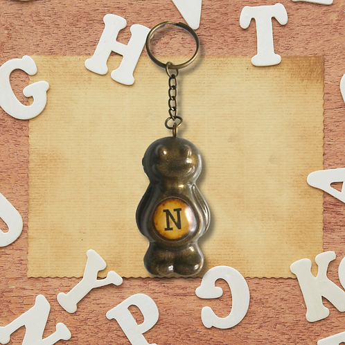 Letter 'N' Bronze Jelly Baby Keyring