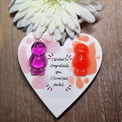 I Wanted To Congratulate You Jelly Baby Heart Wooden Plaque