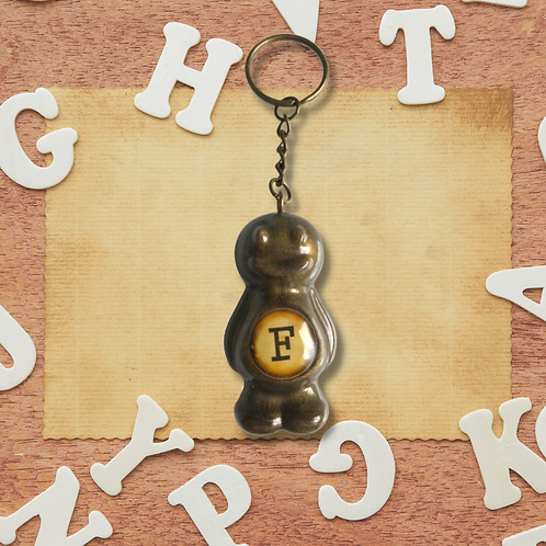 Letter 'F' Bronze Jelly Baby Keyring
