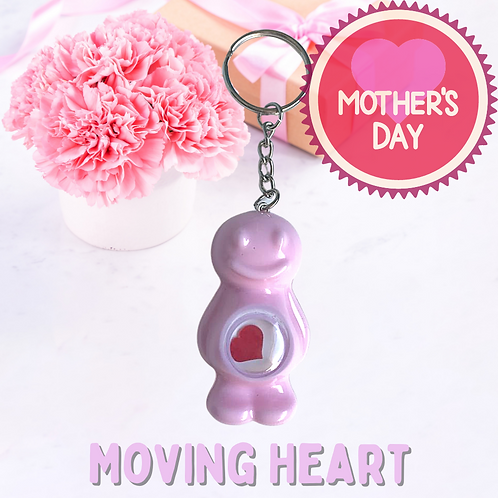 Moving Heart Baby Pink Jelly Baby Keyring
