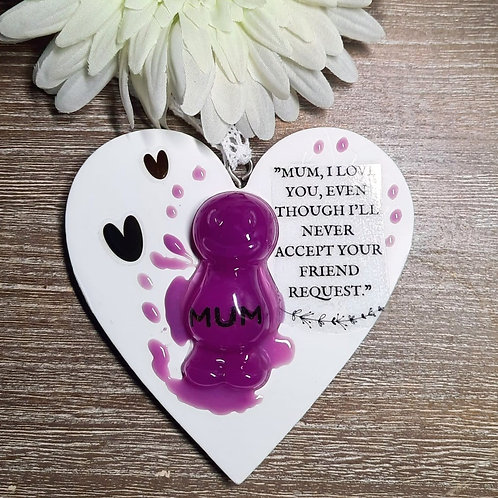 Mum I Love You, Even... Jelly Baby Heart Wooden Plaque