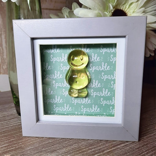 Green Jelly Baby With Sparkle Background (12x12cm)