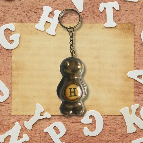 Letter 'H' Bronze Jelly Baby Keyring
