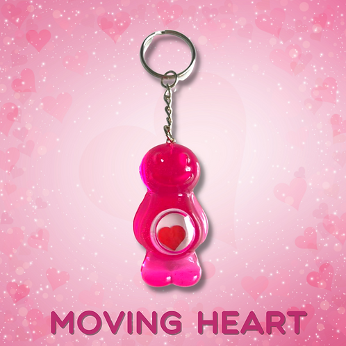 Moving Heart Baby Transparent Pink Jelly Baby Keyring