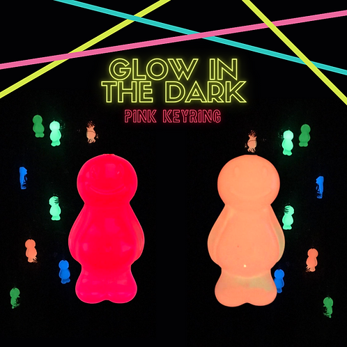 Pink Glow In The Dark Jelly Baby Keyring