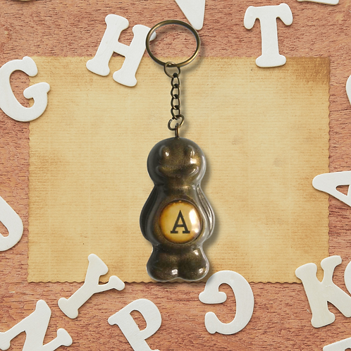 Letter 'A' Bronze Jelly Baby Keyring