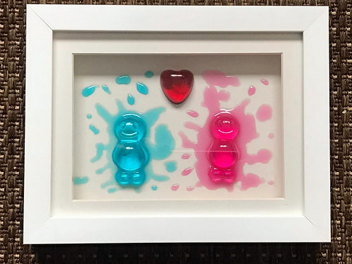 Framed Jelly Baby Picture With Splodges (23.5x18.5cm)