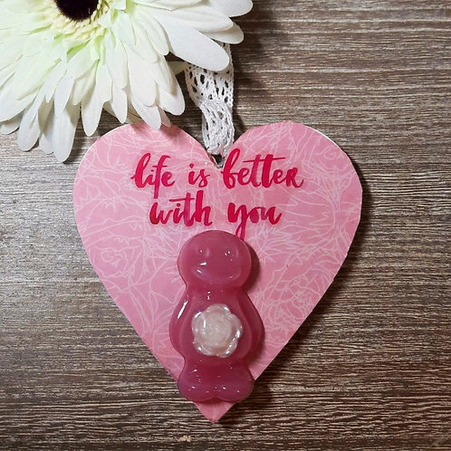Life Is Better With You (Rose In Belly) Heart Wooden Plaque