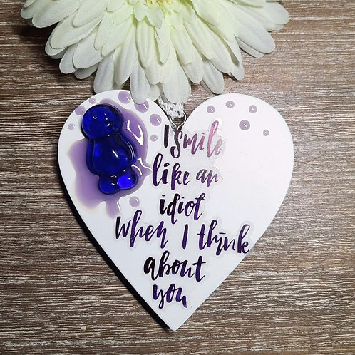 I Smile Like An Idiot Jelly Baby Heart Wooden Plaque