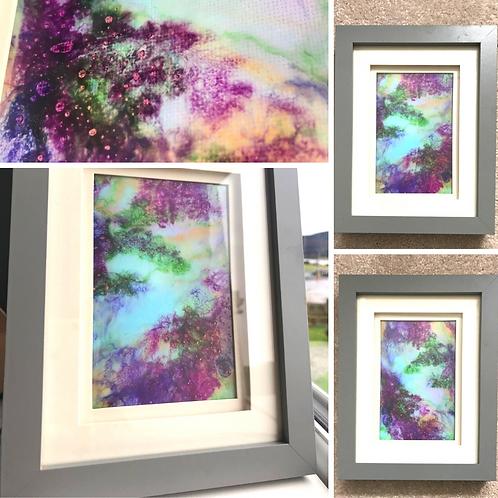 Hills Of Heather Framed Fluid Art Set (28x15cm)