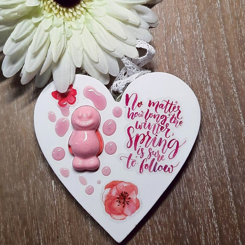 No Matter How Long The Winter Jelly Baby Heart Wooden Plaque