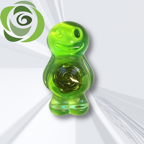 Green With A Rose In Belly Jelly Baby Magnet
