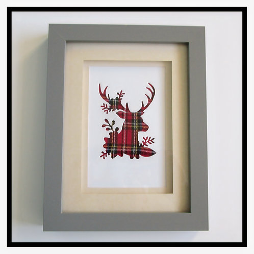 Framed Tartan Stag Picture (18x23cm)