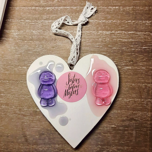 Sisters Before Misters Heart Wooden Plaque