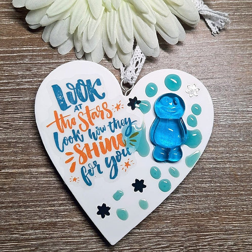 Look At The Stars... Jelly Baby Heart Wooden Plaque