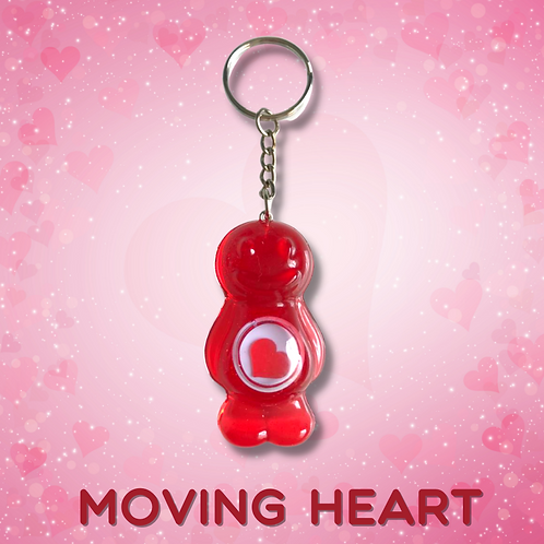 Moving Heart Baby Red Jelly Baby Keyring