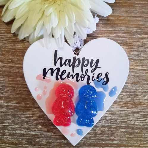 Happy Memories Jelly Baby Heart Wooden Plaque