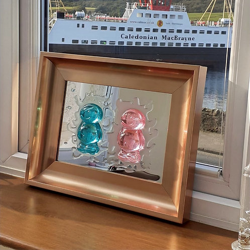 A4 'Special Edition' Blue & Pink Mirrored in Mottled Copper Frame