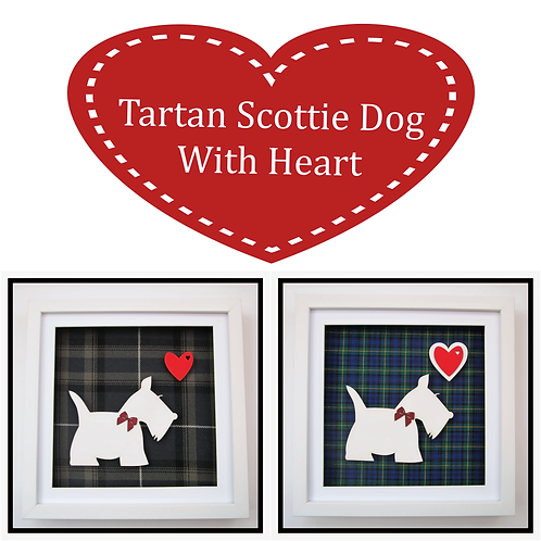 Framed Tartan Scottie Dog Pictures Collection (27x27cm)