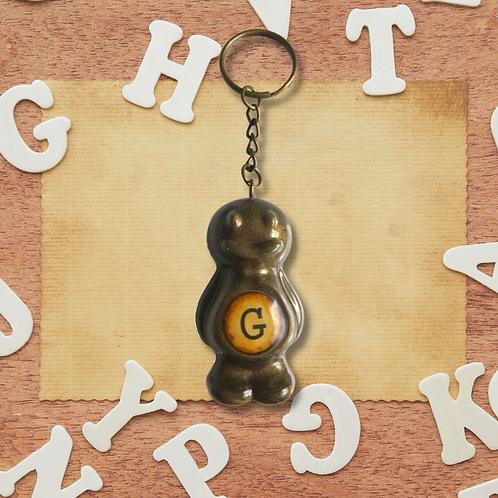 Letter 'G' Bronze Jelly Baby Keyring