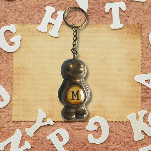 Letter 'M' Bronze Jelly Baby Keyring