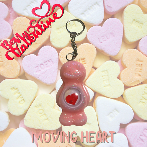Moving Heart Sparkly Baby Pink Jelly Baby Keyring
