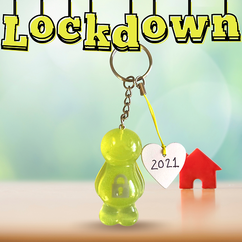 Lockdown Fluorescent Yellow Jelly Baby Keyrings