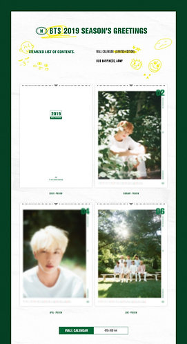 BTS 2019 SEASON'S GREETING WALL CALENDAR
