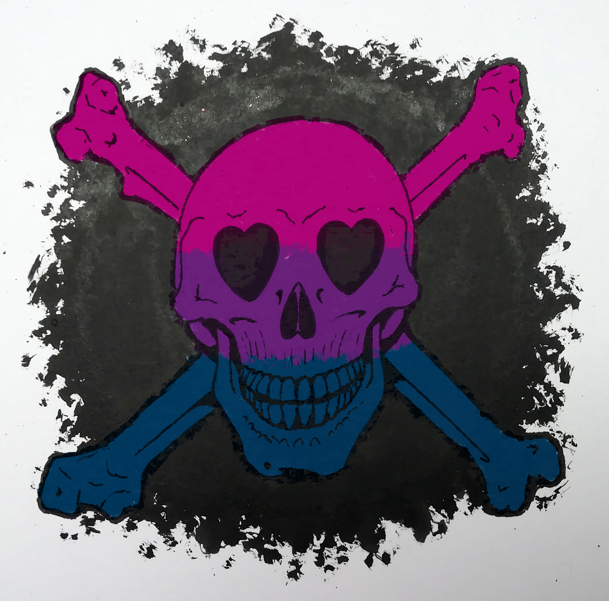 Bisexual Heart Skull