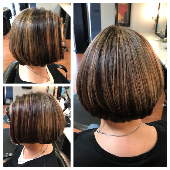 Honey Highlights w/ a Touch of Red Violet Lowlights & Haircut