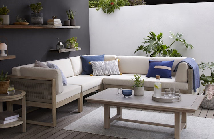 Outdoor sofa seating for a garden room
