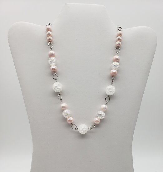 Pink Shimmery and White Marble Beaded Necklace with Silver Accents