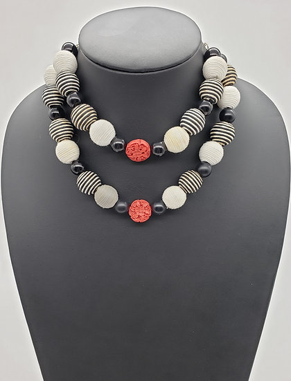 Red, Black, and White Modern Style 2 Strand Necklace