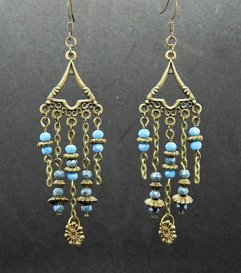 Antique Gold and Baby Blue Crystal Beads