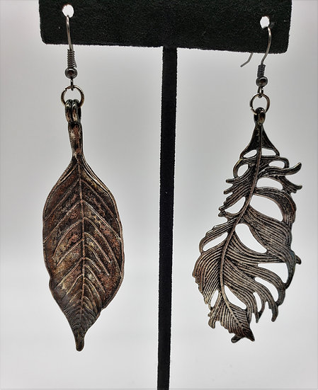 Dramatic Gun Metal Silver Miss-matched Leaf Earrings