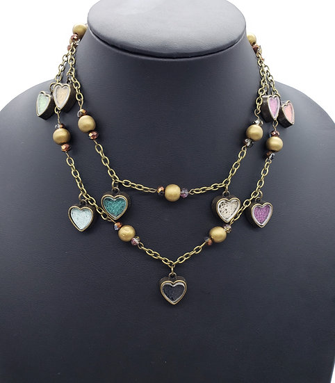 Multi-colored Heart Charms w/ Gold Accents and Chain 2 Strand Necklace