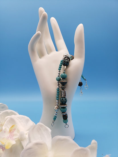 Turquoise and Silver 2 Bracelet Set - Mix and Match