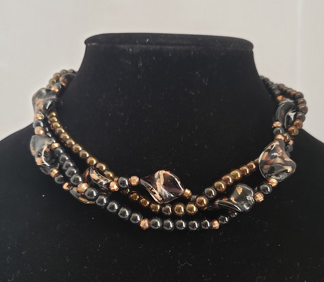Black and Antique Copper Choker Necklace