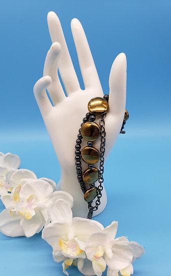 Dark Golden Flat Round Beads w/ Gun Metal Grey Beads & Chain 3 Strand Braceletl