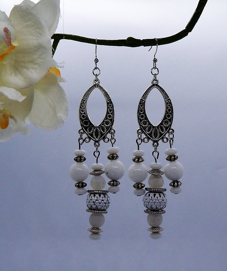 White and Silver Chandelier Earrings
