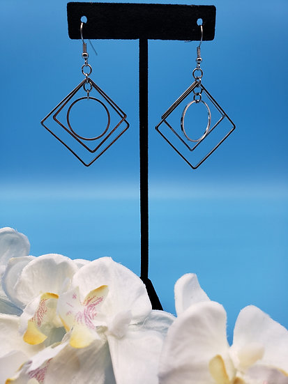 Silver Circle and Squares Dangle Earrings