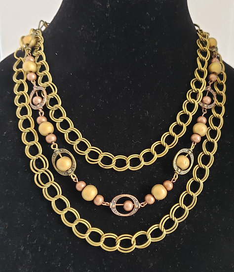 Gold and Antique Copper 3 Tiered Necklace
