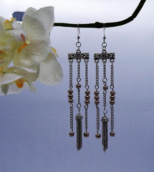 Silver and Pink Pearl Tassel Earrings