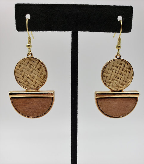Wood and Wicker Dangle Earrings with Gold Accent