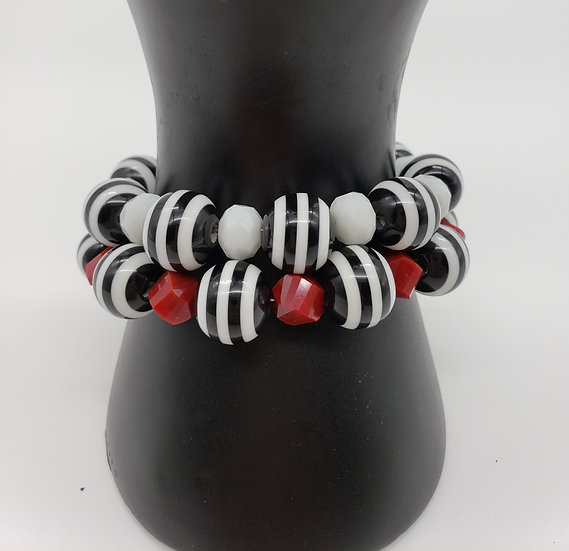 Black and White Strips with Red and White Accent Beaded Set of 2 Bracelets