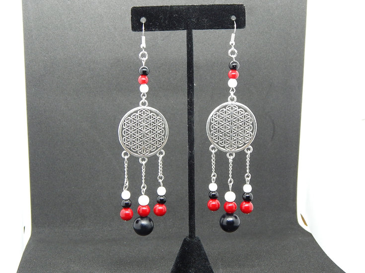 Silver with White,  Red, and Black Accent Beaded Earrings
