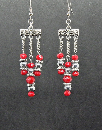 Red and Silver Petite Chandelier Earrings